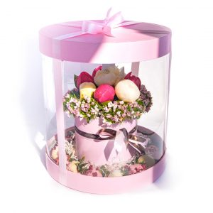 Коробочка-аквариум: розовая с пионами