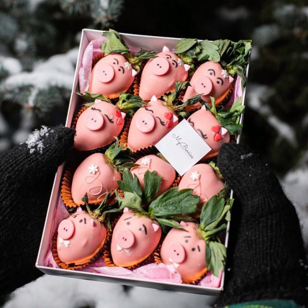 Набор клубники в шоколаде: Хрюши